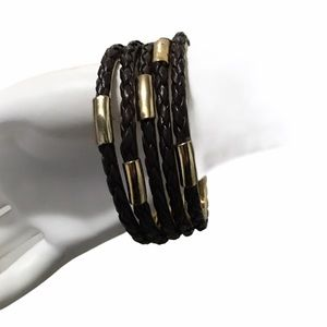 LEATHER BROWN & GOLD SET BANGLES